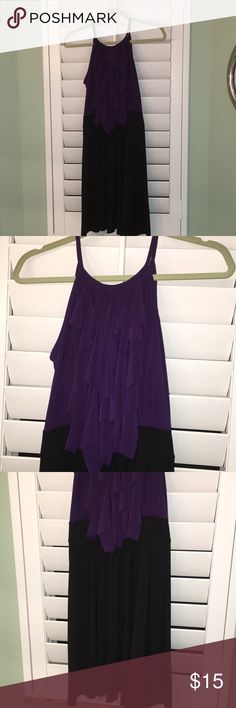 Purple and Black Dress Very comfy little dress!! Great stretch material!! It was hard to get a good pic in my lighting but the colors are beautiful. Only worn twice. In excellent condition! Star Vixen Dresses Midi
