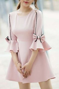 Crew Neck Pink Mini Dress A-line Frill Sleeve Sweet Cotton Bow Dress Pink mini dress with a round neck A-line ruffle sleeve Sweet cotton dress with bow Kurti Sleeves Design, Sleeves Designs For Dresses, Dress Neck Designs, Sleeve Dresses, Blouse Designs, Pink Mini Dresses, Cute Dresses, Casual Dresses, Fashion Dresses