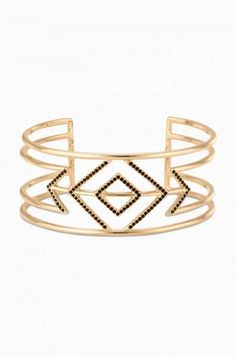 Pave Sphinx Cuff / Black and Gold Statement Bracelet Cuff | Stella & Dot