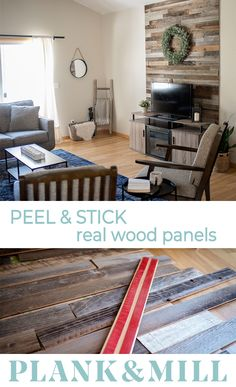 We believe in living in walls you love. Reclaimed wood planks with easy peel and stick backing enable you to create a truly beautiful space you can be proud of. Home Improvement Projects, Home Projects, Home Renovation, Home Remodeling, My Living Room, Living Room Decor, Stick On Wood Wall, Wood Panel Walls, Diy Furniture