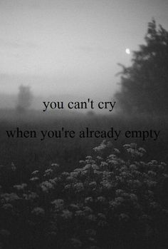 ...some days I cry so much I run out of tears & end up totally numb