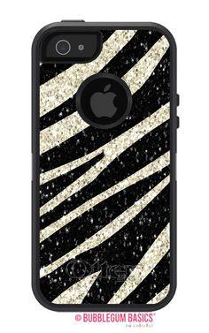 OTTERBOX DEFENDER iPhone 5 5S 5C 4/4S iPod Touch 5G Case Custom Zebra Faux Glitter Pattern - Monogram Personalized