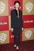 Golden Globe 2013 after party WB  Liberty Ross teamed a tuxedo jacket with slim black trousers for the Warner Bros party. Photo By Rex Features