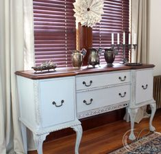"""An antique buffet named """"Sophie"""".  MMS Milk Paint mix of Grain Sack and Shutter Gray.  Stripped top with Hemp Oil."""