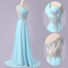 Mint beaded Chiffon Bead Long Pageant Dress Ball Prom Gowns Evening chiffon Bridesmaid Dresses
