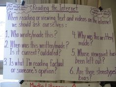 Reading the Internet Anchor Chart Ministry Of Education, Classroom Tools, Digital Literacy, Media Literacy, Elementary Library, School Posters, Language Activities, School Psychology, Communication Skills