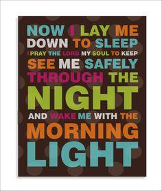 Bedtime Prayer, Modern Art Print, Typography, Nursery wall decor, Kids Wall Art-8x10. $12.00, via Etsy.