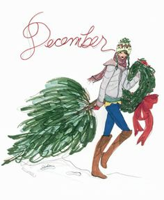 December 2010 - Happy December by Inslee Haynes Noel Christmas, Winter Christmas, Vintage Christmas, Xmas, Christmas Sketch, Christmas Fashion, Christmas Greetings, Christmas Gifts, Happy December