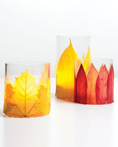 How To Make Flaming Foliage Candleholders for Thanksgiving Table ♥ simple lovely fall decor Thanksgiving Table Settings, Thanksgiving Crafts, Thanksgiving Decorations, Fall Crafts, Holiday Crafts, Diy Crafts, Leaf Crafts, Table Decorations, Nature Crafts