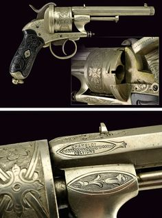 A very rare Chamelot-Delvigne luxury pin-fire revolver,    provenance:	 	Belgium dating:	 	third quarter of the 19th Century.