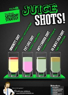 Juice Shot Recipes: Immunity Shot,  Anti-Candida Shot, Weight Loss Shot, Go Away Cold Shot: http://fitlife.tv/saturday-strategy-juice-shots/