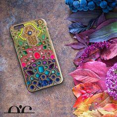 Evil eye iphone 6 plus case Hamsa hand iphone 6 cover Yellow iphone 6s case Handmade Swarovski chic case iphone case