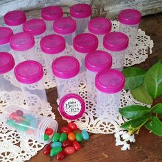 20 JARS PINK Caps 1.5oz Container Bottles Birthday Party Favors #3814 DecoJars #DecoJars