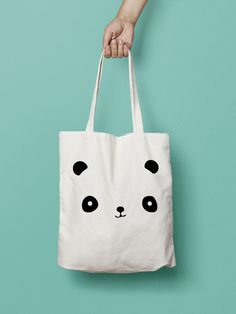 """Panda Tote Bag Canvas Printed Bear , Market Bag,   Totes are that universal product that everyone needs and uses. A book bag, a grocery bag, or just somewhere to throw in all of those little everyday items.  100% Bull Denim Woven Cotton construction Dimensions: 14 3/8"""" x 14"""" (36.5cm x 35.6cm) Dual handles Fabric weight 11.0 oz/yd² (373 g/m²) Superior screen printing results A cute, all-purpose natural cotton canvas panda tote bag."""