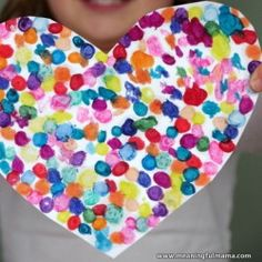Melted Crayon Heart Valentine Craft--try with paint dots