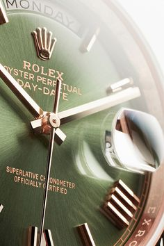 """Known as the """"presidents' watch"""", the Rolex Day-Date 40 with a green dial, Rolex's hallmark colour."""