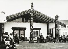 Evening at Te Puea Marae, Mangere by Gil Hanly Polynesian People, Maori People, Maori Art, Kiwiana, Church Building, Hotel Lobby, New Zealand, Gazebo, Outdoor Structures