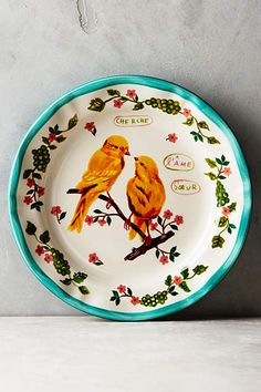 Anthropologie EU Nathalie Lete Plate. A welcome addition to your dinner table, this feathered friend makes any meal more enjoyable. An Anthropologie exclusive from Parisian artist Nathalie Lete.