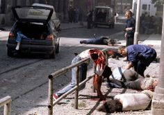 Massacre of Bosnian Muslims by Serbians in the middle of Europe in 1992