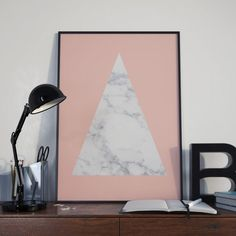 Marble triangle over soft peach pink A4 or A3 photo by GiltStore