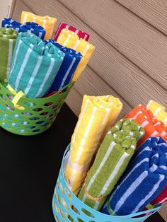Beach towels as party favors for pool party