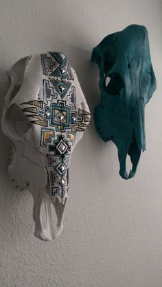 Check out this item in my Etsy shop https://www.etsy.com/listing/251226916/aztec-design-hand-painted-cow-skull