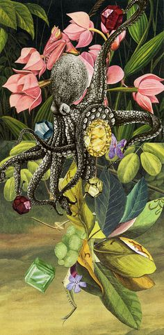 gems, via Flickr.  Ive long been a fan of Valerie Roybal's collages. Art Du Collage, Collage Artists, Art Beat, Octopus Art, Artistic Installation, Flower Images, Mixed Media Art, Altered Art, Art Boards