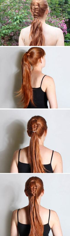 Ponytail with Fishtail Accent | DIY No Heat Hairstyles for Long Hair
