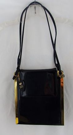 Crown Lewis Vintage Black Patent Leather Shoulder 1960'S Purse
