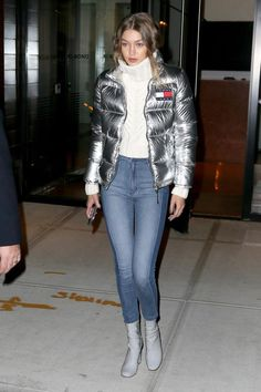 Gigi Hadid wearing Tommy Hilfiger Gigi Sweater, Tommy Hilfiger Silver Down Puffer Jacket and Tony Bianco Nakita Boots in Storm