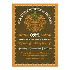 Lacy Little Pumpkin Birthday Invitation II.  $1.70 #birthdayinvites #fallbirthdayinvite