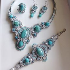 Diy Jewelry, Jewelry Sets, Jewelery, Jewelry Accessories, Handmade Jewelry, Jewelry Design, Jewelry Making, Soutache Necklace, Necklace Set