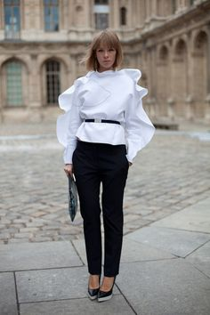 The new white blouse? Not such a typical, every-day outfit-- but there's nothing wrong with taking risks. Maybe a splash of color along the sleeves would be more appealing.