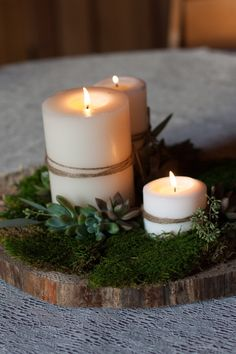 Wood slice centerpiece // candle // moss                                                                                                                                                                                 More