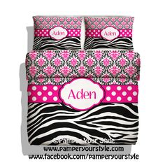 Zebra and Damask Duvet and Comforter Bedding with Shams -  Personalize with Name or Monogram - Hot Pink and Black Damask with Zebra Bedroom on Etsy, $139.00