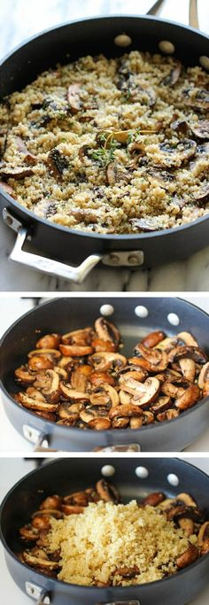 Garlic Mushroom Quinoa - An easy, healthy side dish that you'll want to make with every single meal! (Quinoa Recipes)