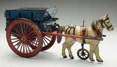 Lot # : 777 - Unusual Tin Litho Wind-Up German Horse-Drawn Cart