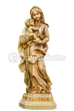 Virgin Mary with the baby Jesus Christ in her arms. Statuette in Bethlehem, the city shop,    Palestine — Imagem de Stock #105675066