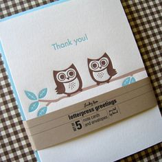 Lucky Bee Press - Letterpress Owl Thank You - set of 5 $15