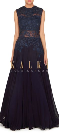 Navy blue gown embellished in resham and zari only on Kalki
