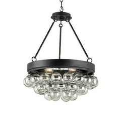 Currey and Company 9887 Balthazar 3 Light Pendant with Suspended Clear Glass Glo, Black