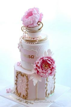 Adorable Pink Teacup Cake - perfect for a bridal shower!