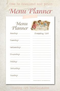 Menu Planner - free to download and print from Shabby Art Boutique. Click for instant download or pin for later.