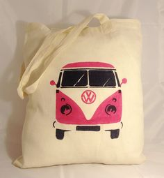 VW Campervan Printed On Cream Cotton Shopping (Tote) Bag #kombilove