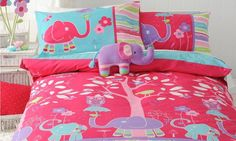 Sariah's Bed - Gorgeous Elephant Party Duvet Cover!  Starts at $79.95 from www.harveynorman.co.nz.  I LOVE the vibrant colours in this.
