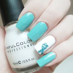 PCOS Awareness Mani... This would be beautiful with different colors for different causes :)