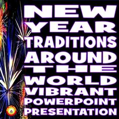 There are many diverse celebrations of the new year around the globe! This presentation consists of 26 slides and over 80 vibrant graphics. There is a slide for each of the following countries or locations: ---China, ---Denmark, ---France, ---Germany, ---Hawaii, ---Ireland, ---Israel, ---Italy ---Japan, ---Netherlands, ---Norway, ---Philippines, ---Poland, ---Portugal, ---Russia, ---Spain, ---Sweden, ---Turkey.