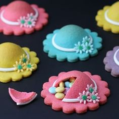 Candy filled brightly colored ladies hat cookies make lovely treats for Mother's Day or Derby Day.