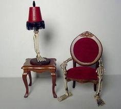 Spooky Halloween Chair via: greenleafdollhouses.com