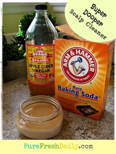 1 cup baking soda  1/2 cup apple cider vinegar    Instructions    Blend ingredients in large bowl. Allow ingredients to do their fizzy union. Whisk to combine. Wet hair and apply paste, lifting hair to thoroughly cover scalp with paste. Once applied, gently rub scalp with fingertips for a few minutes. Do not rinse off. Apply shampoo and continue to lather with fingertips. Rinse off. Proceed as usual.    * If you have color treated hair, use with caution as this could strip your color.